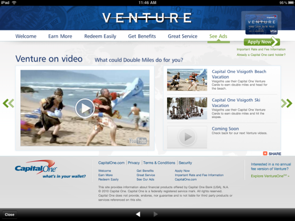 Capital One Venture landing page