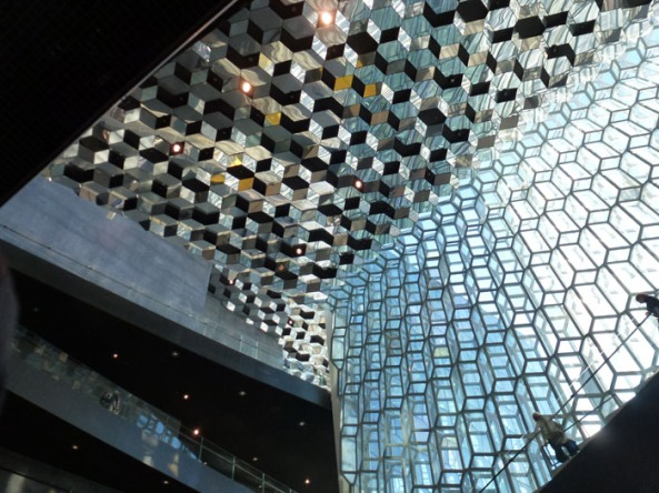 The stunning glass architecture of the iconic Harpa Conference Center.