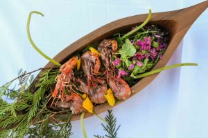 Cedar Skewered Prawns Featured in Moosemeat and Marmalade Season 3